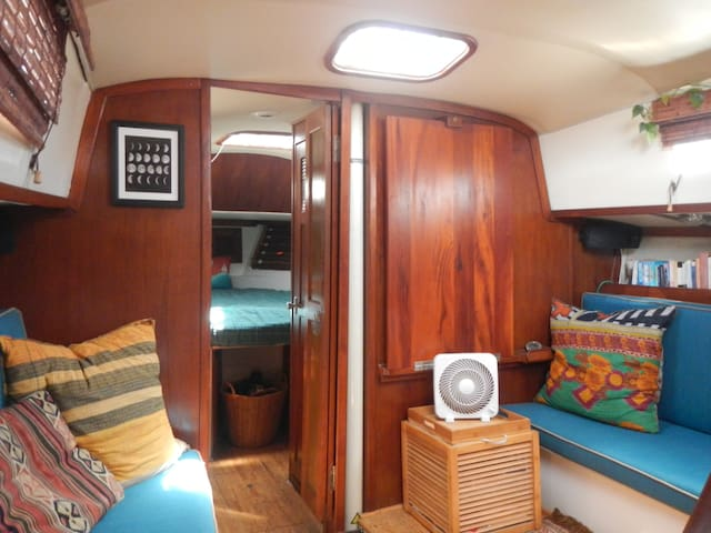 The salon, looking forward to one of the two staterooms