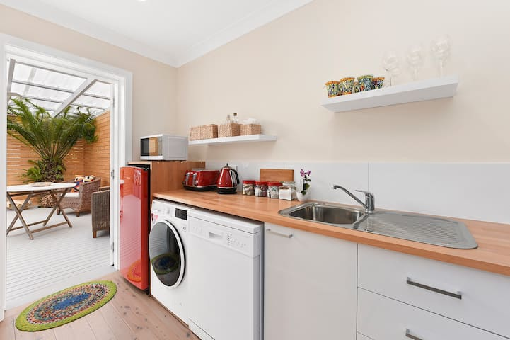 The kitchenette has everything that you would need for a great stay.