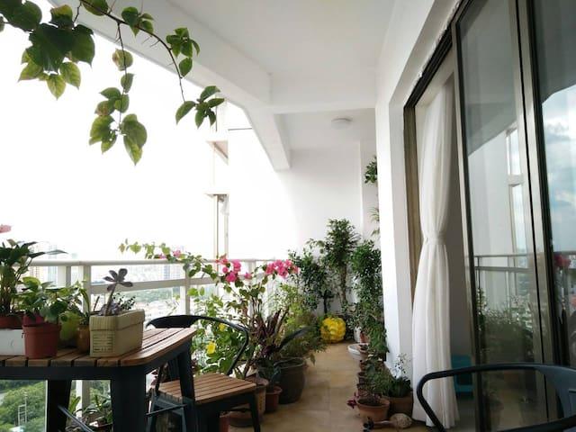 一楼观景阳台上闲逸清心。