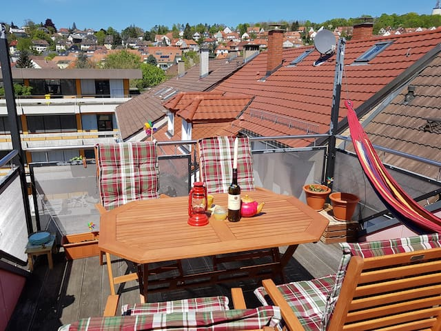 Gemütliches Zimmer mit Dachterrasse - Pforzheim - Apartamento