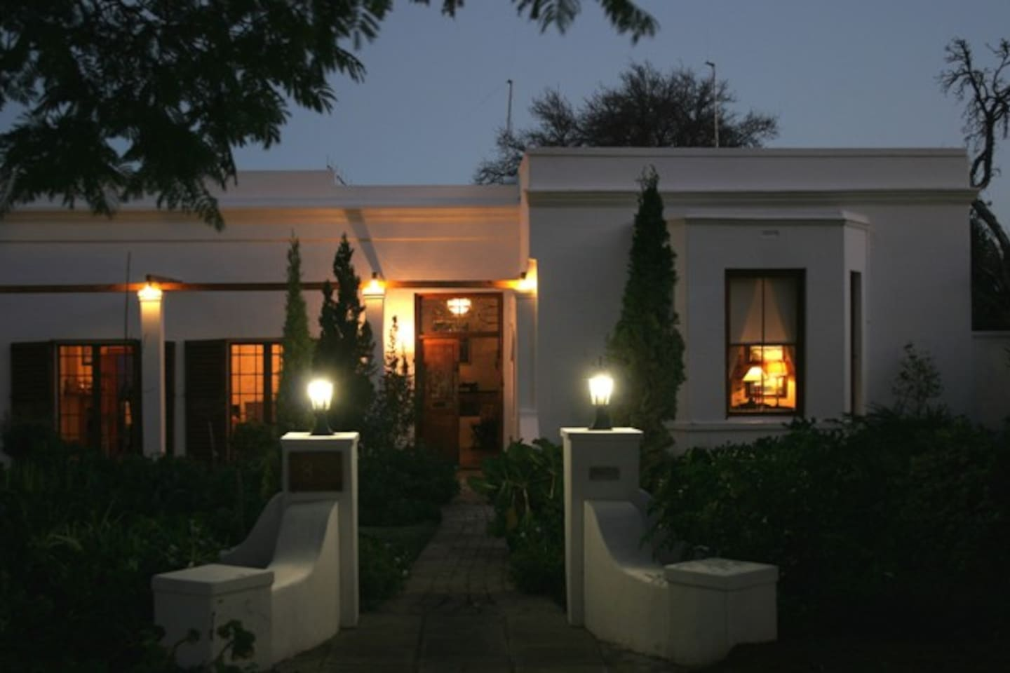 Evening view of the front of the guest house