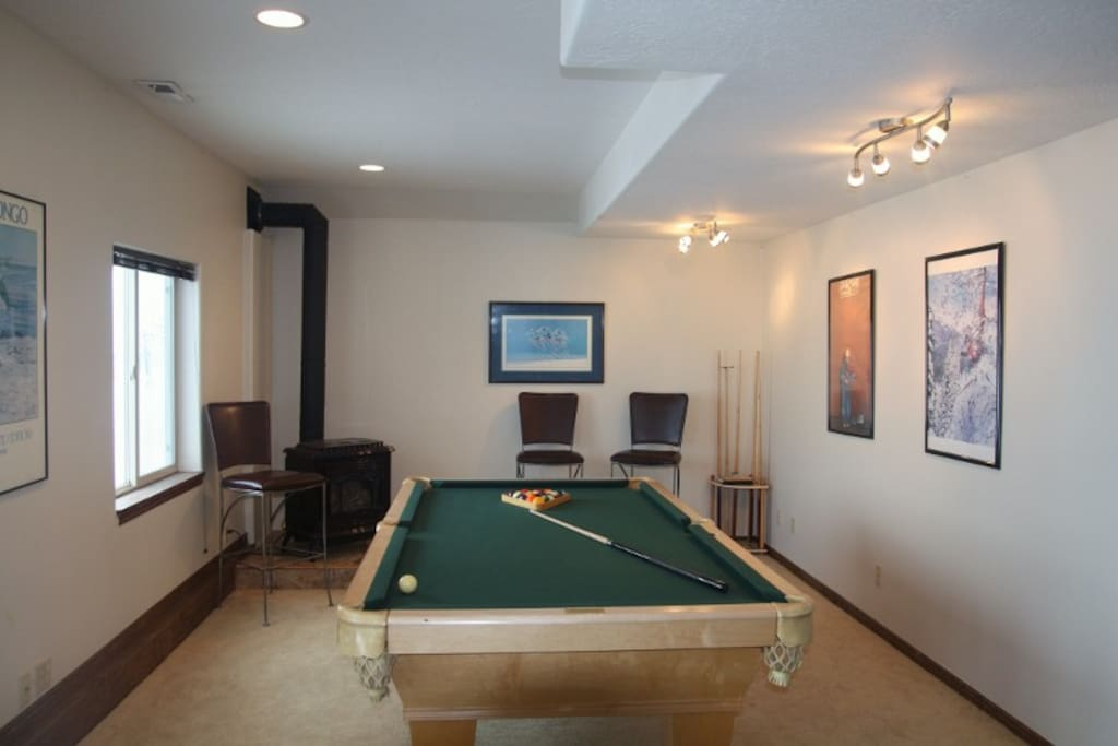 Pool / Ping-Pong table with pot-belly fireplace