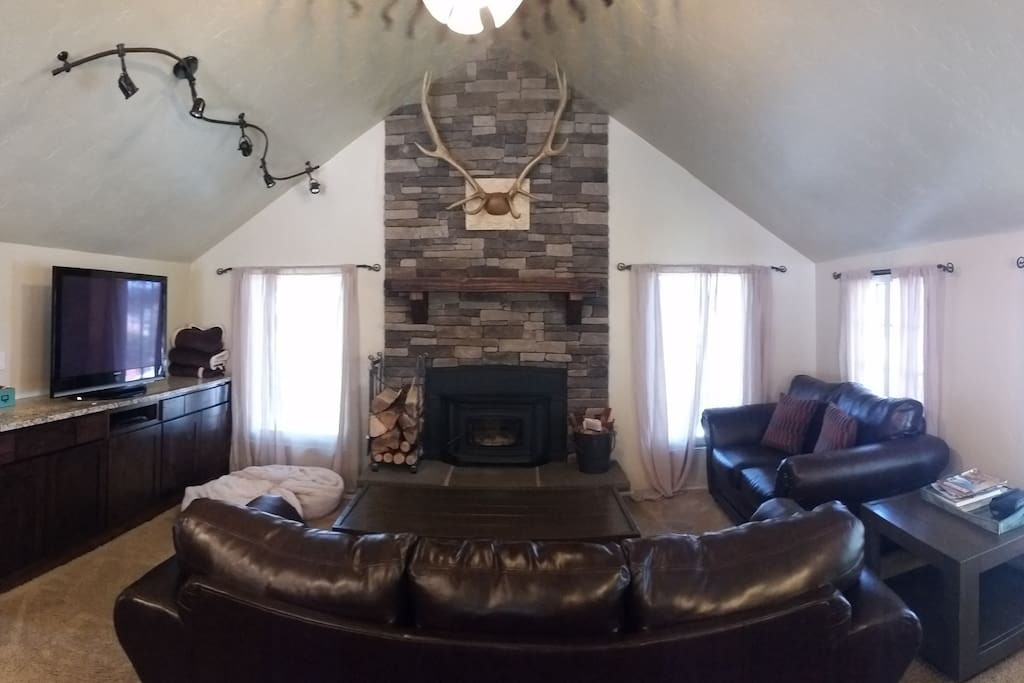 Living room with HD TV, DVD player and wood stove