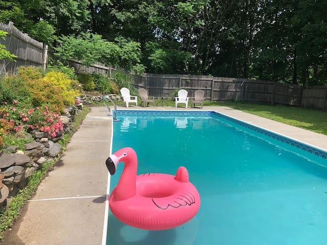 Lenox Farmhouse, short walk to town, private pool!