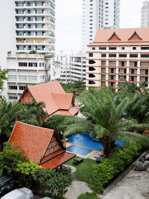 View of the residence pool area from the balcony