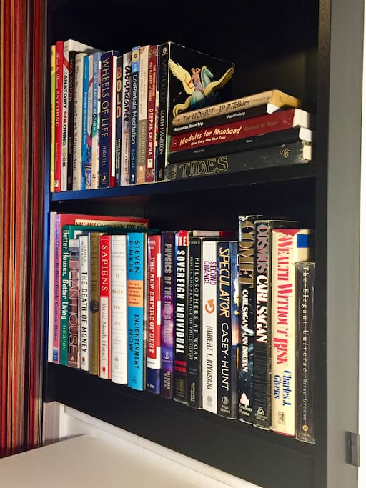 A bookcase with some of my current and older favorite books is built in above the workspace.