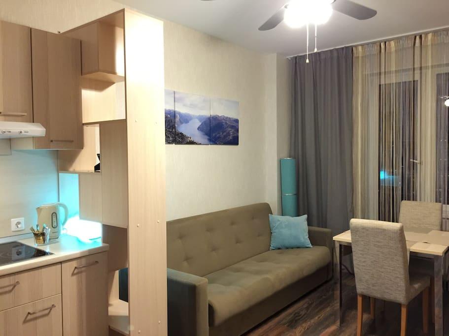 Гостиная, двуспальный диван-кровать