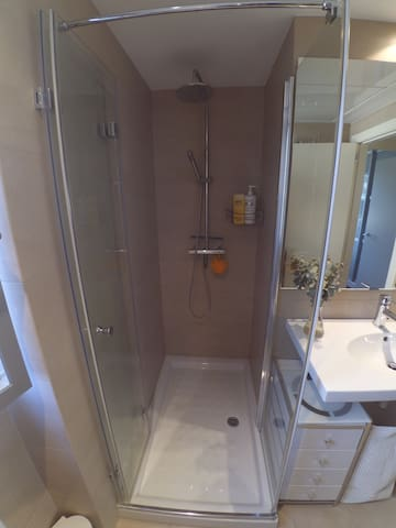 Spacious shower with rain shower head