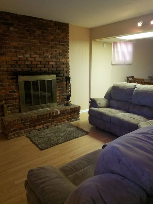 sectional couch with pull out and fireplace
