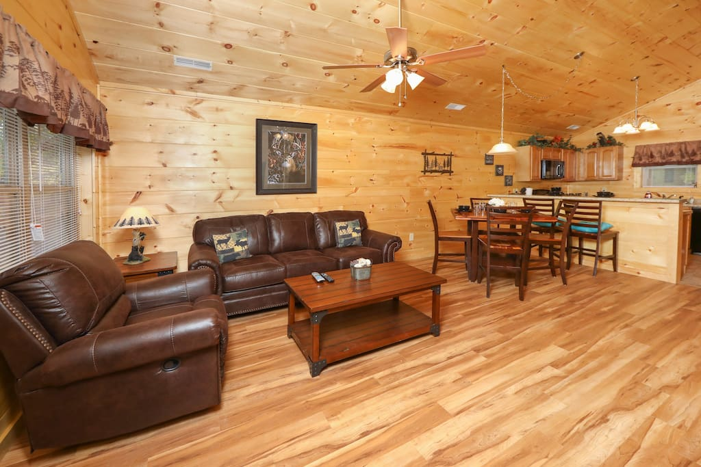 Comfy seating for 6 in the open living area. Professionally managed and maintained by TurnKey Vacation Rentals.