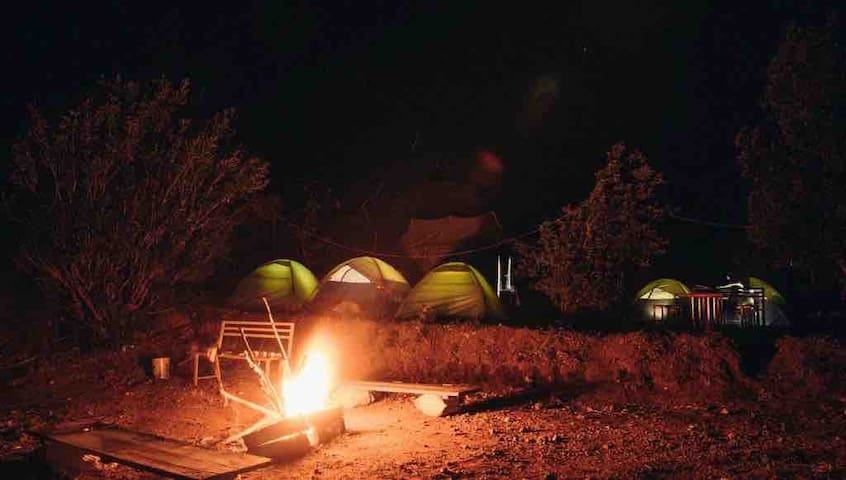 a camping site with camp fire