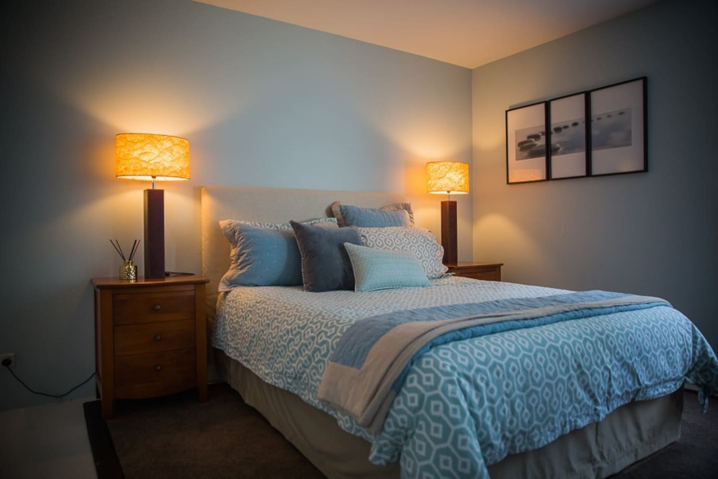 Guest Bedroom, large room with Queen bed, plenty of storage and desk.