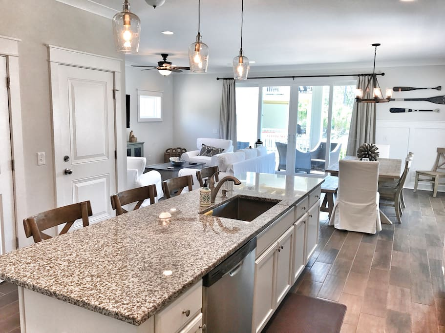 Gourmet Kitchen with huge island and seating for 4.