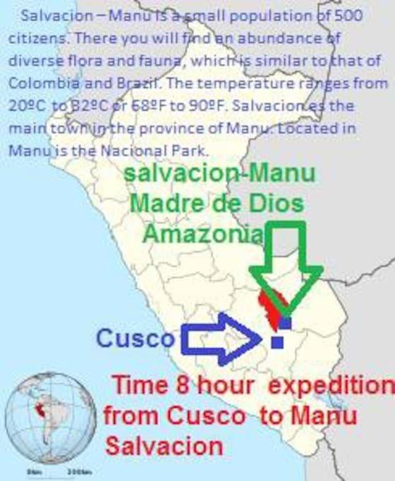 Salvación-Manu, esta ubicado a 8 horas en bus de Cusco.