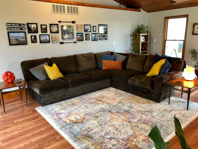 Relax on the comfy sofa in the living room.