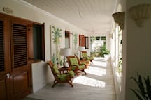 Bedroom Breezeway surrounds the central courtyard with airy covered seating area