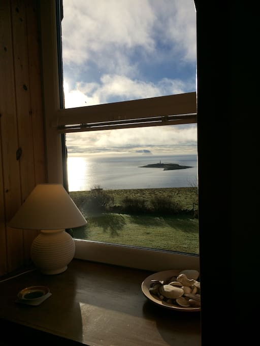 View of Pladda Lighthouse and Ailsa Craig from living room window