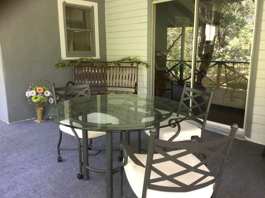 Eating area on porch