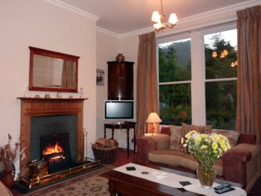 Lovely lounge with log fire open  surroundered by lovely views from  All windows