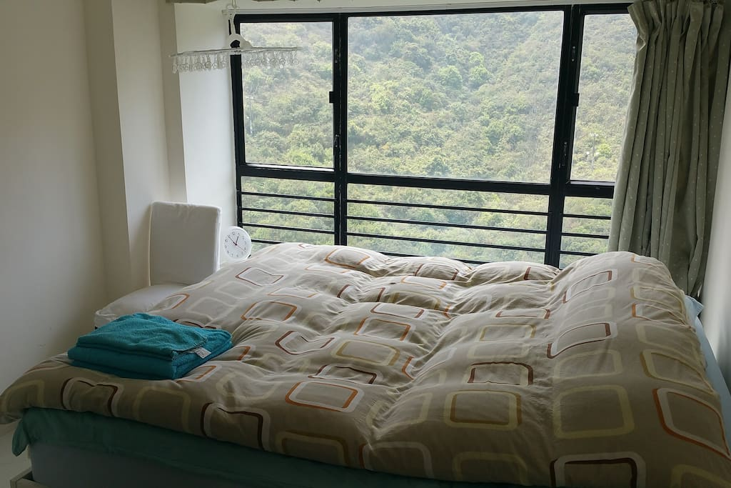 king size bed and view from bedroom