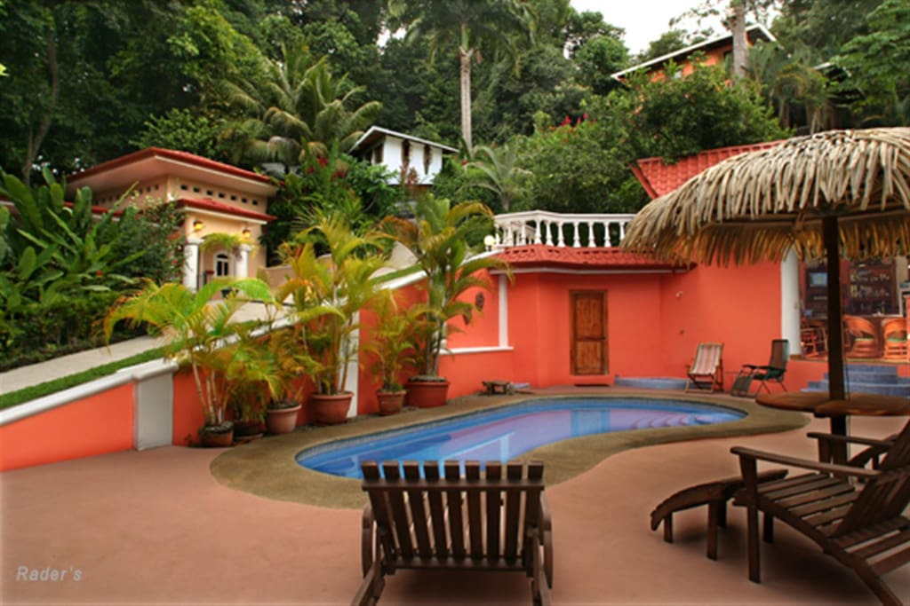The pool deck with Villa la Cuesta and The Monkey House