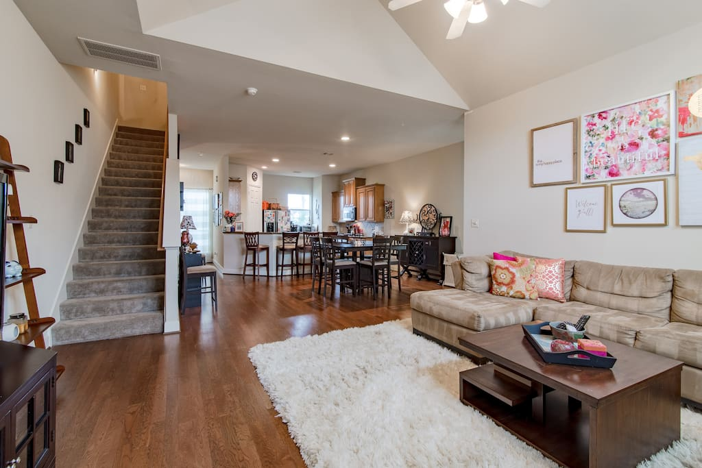 2nd Floor | The open floor plan on the 2nd level includes a kitchen, dining area, and living room and is the perfect space to bring together friends & family.