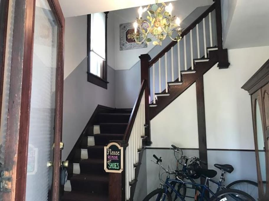 Welcome to City Gem! Walk in your private entrance to your second floor apartment. (There are roughly 20 stairs.) The answer to your question is yes, the 2 bikes are for your personal use during your stay at City Gem.