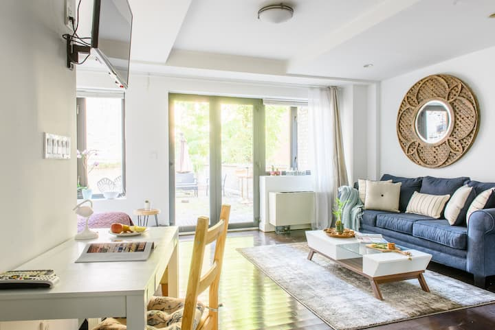 newly furnished JR1BR~W/D~Private terrace!Elev bld