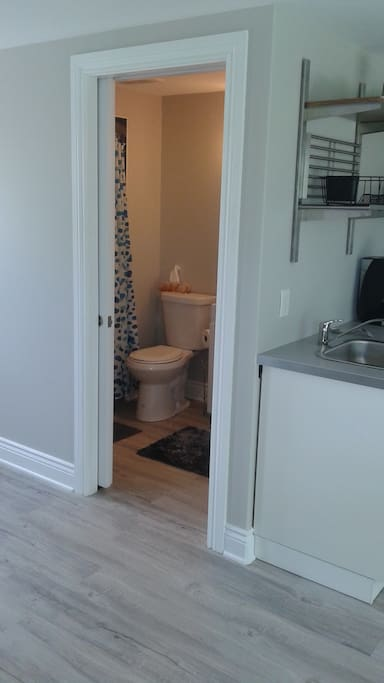 Entry to 3 pc. bath - walk in custom tiled shower