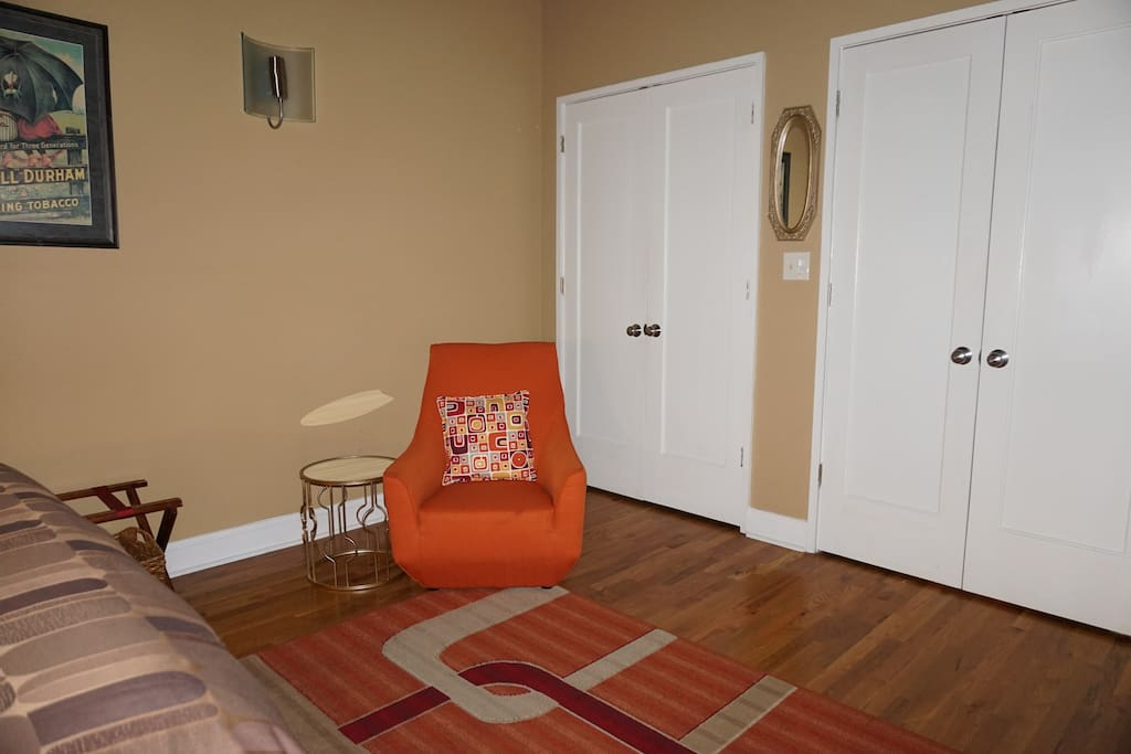 Sitting area and closet space for your comfort.