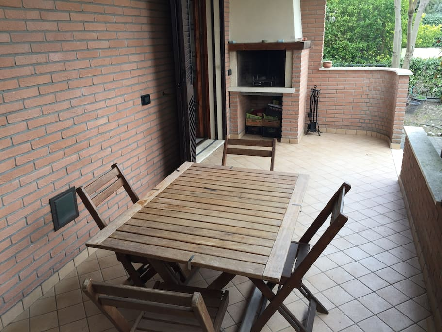 Private barbecue and fireplace