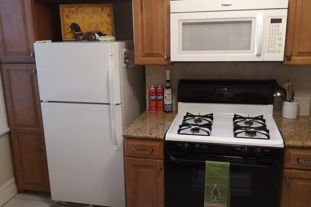Refrigerator, stove with range, and microwave