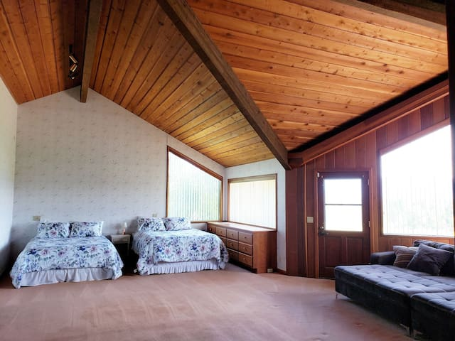 Spacious private master suite w/ a view
