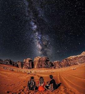 Trekking and outdoor camping in Wadi rum desert