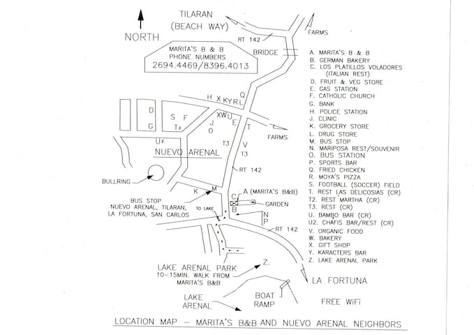 Location Map - Marita's B&B, item A, is located between the German Bakery, item  B, and the Italian restaurant, item   C. Marita's guest walk the short distance to Marita's other Nuevo Arenal Neighbors. Lake Arenal is a 10-minute walk from Marita's.