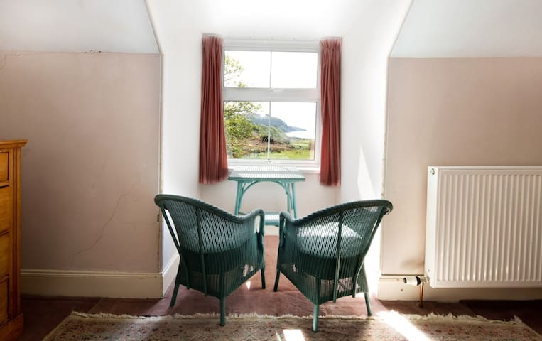 Looking out from the twin bedded room upstairs, down the Sound of Sleat.