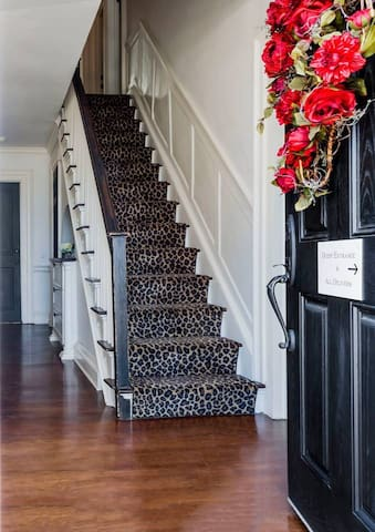 Staircase to your private room on the second floor!