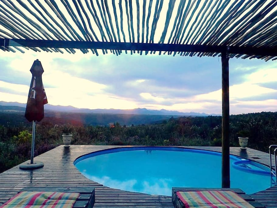 Solar heated pool deck and view