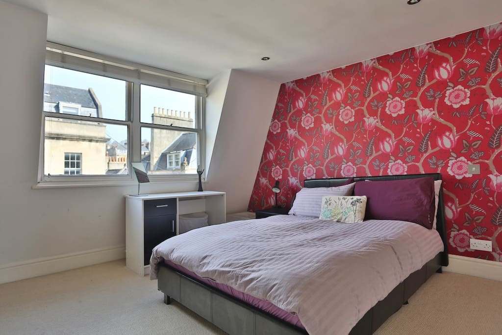 The bedroom has views over George Street