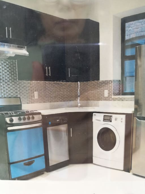 All appliances are new. We have a small stove, refrigerator, dish washer, and washer and driver.