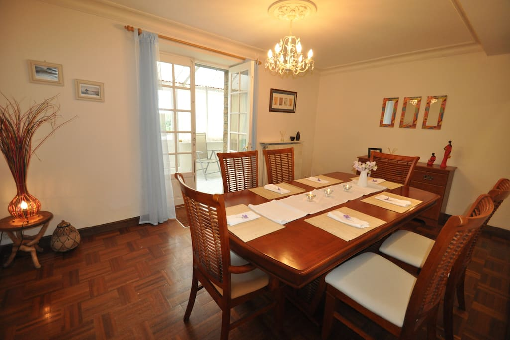 Dining Room with Double Doors through to Garden Room