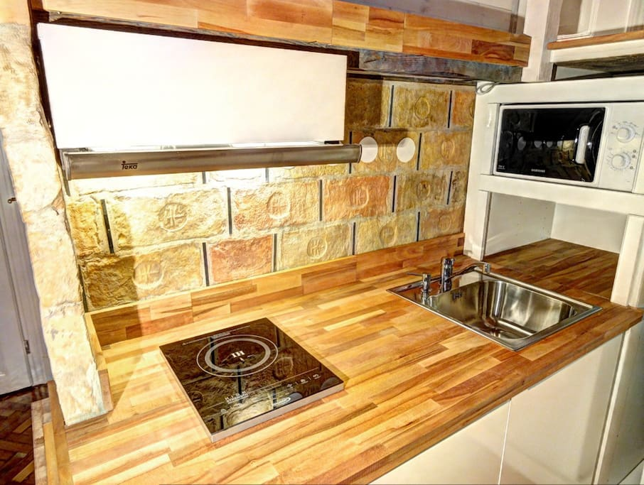 Kitchenette with induction cooktop