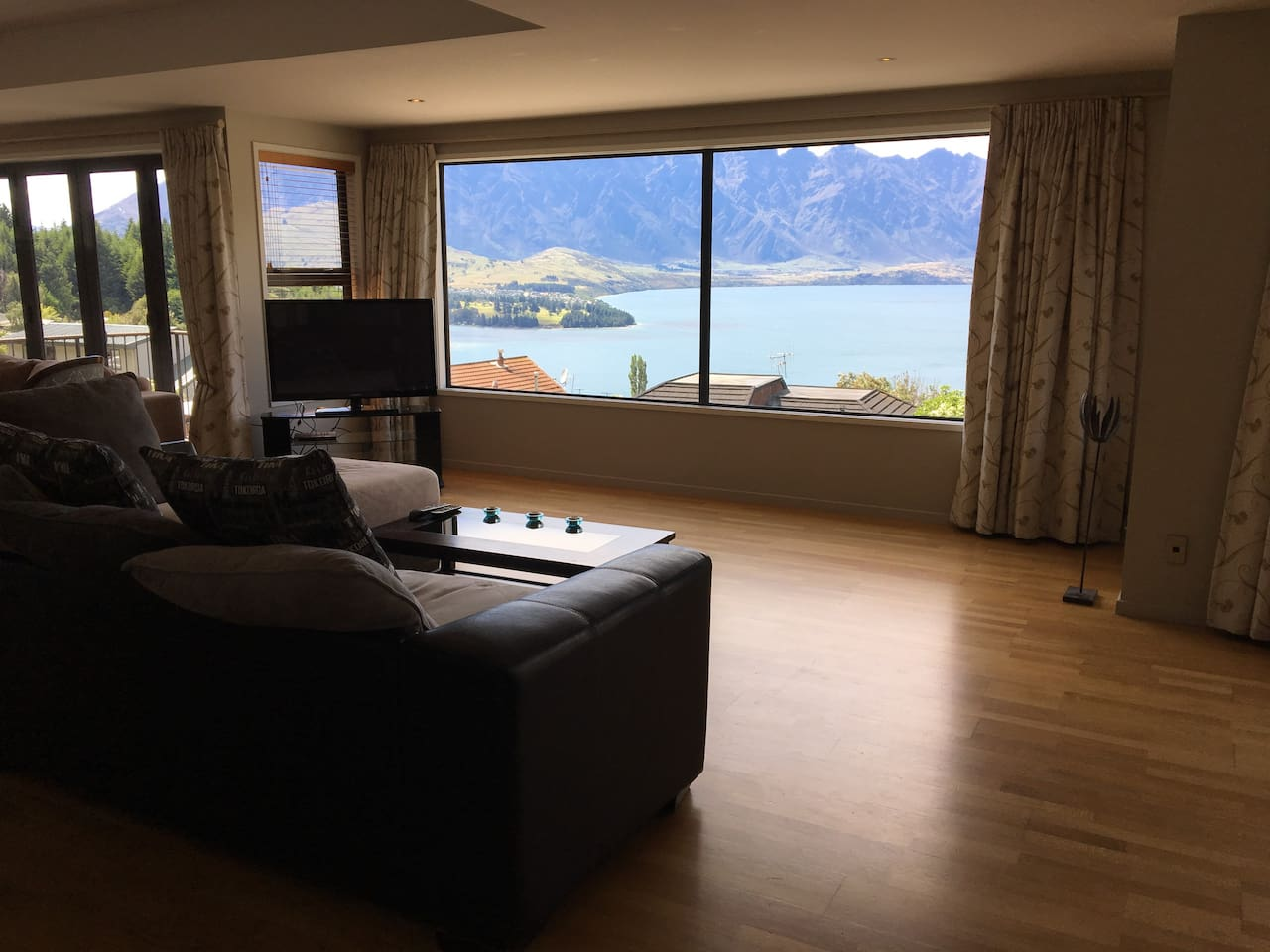Lounge overlooking Lake Wakatipu and the Remarkables.