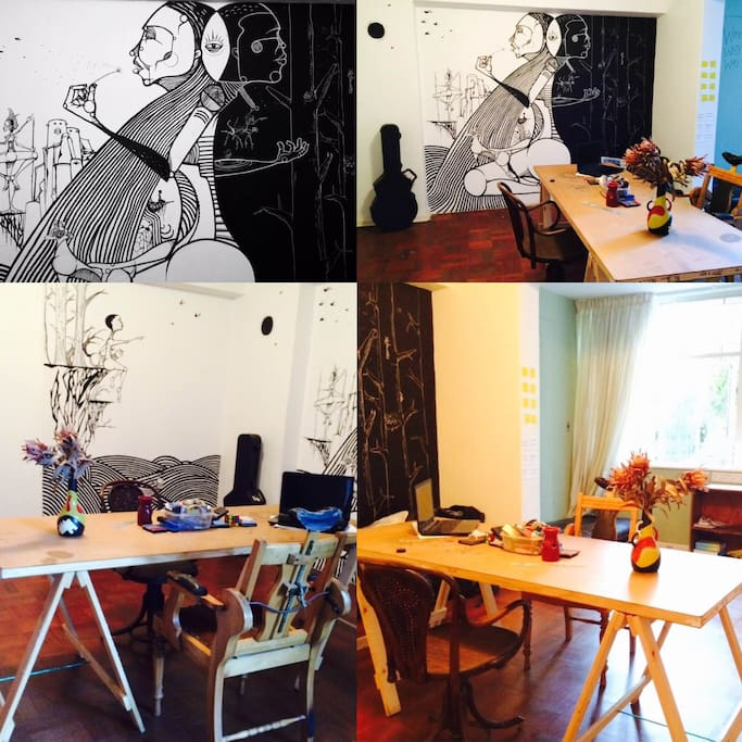 Enjoy our sunroom/workstation. WiFi included. Art is free.