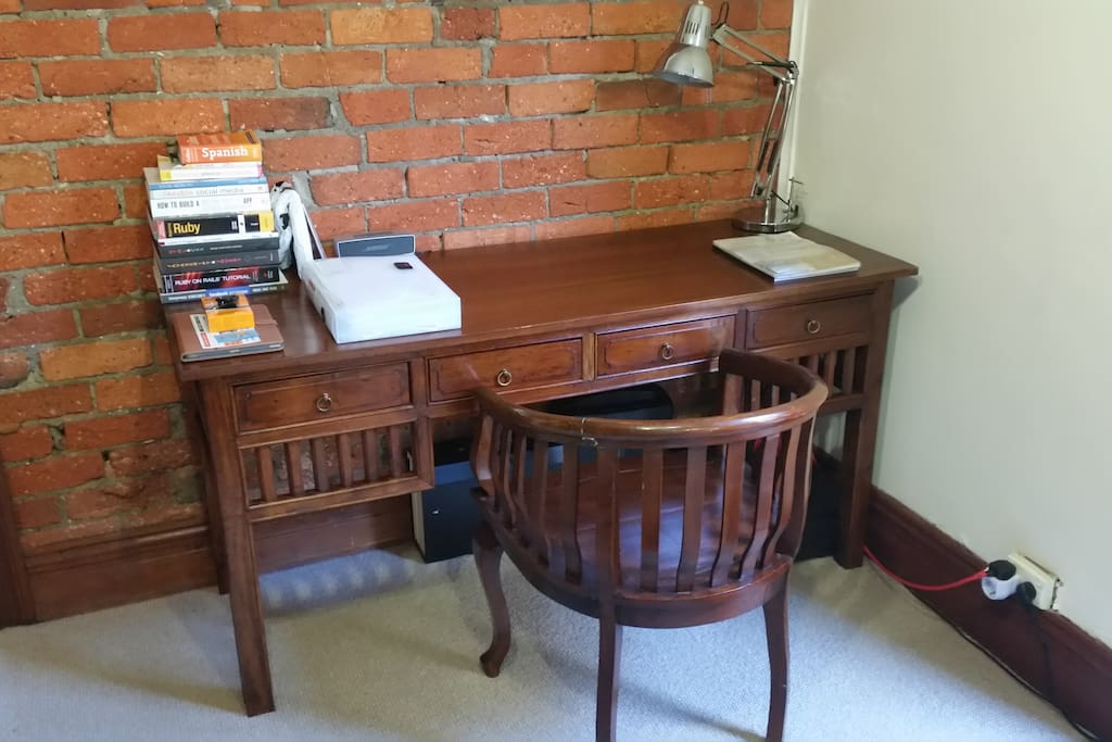 Desk with reading lamp