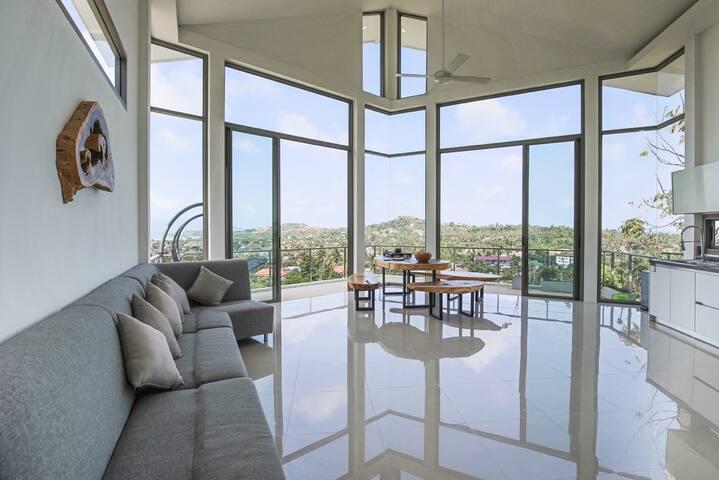 Pentagon shape luxury modern villa with seaview