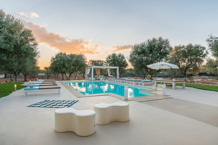 New listing! Dog-friendly, modern villa w/ a private pool & gym in an olive park