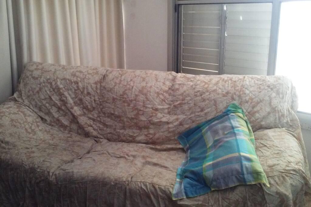 A comfy sofa-bed