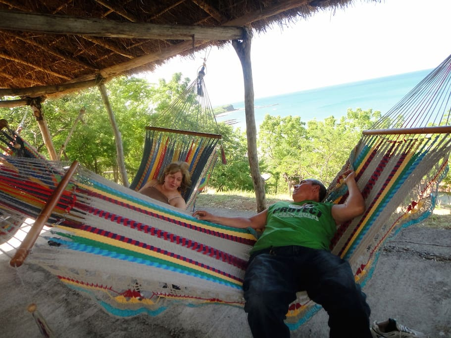 Hammock can be hanged to sleep outdoors or relax with an amazing view