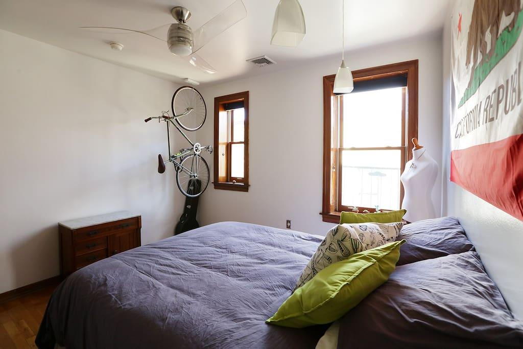 Both windows face the rising sun, and the blackout shades installed allow you to sleep in when desired.